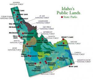 Mappa parchi di Idaho