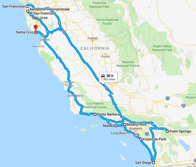 itinerario california